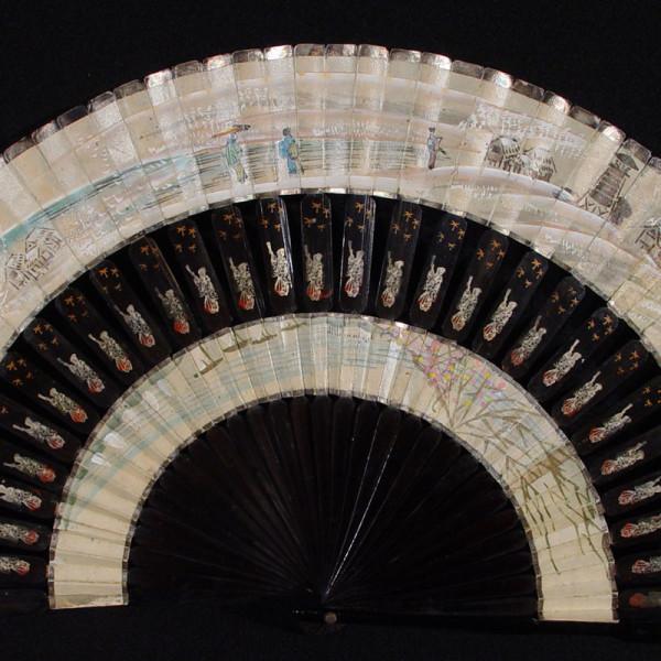 Oriental Black Lacquer Fan